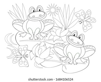 Black and white page for baby coloring book. Illustration of two cute frogs in a swamp with water lilies. Printable template for kids. Worksheet for children and adults. Hand-drawn vector image.