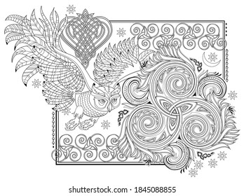 Black and white page for kids coloring book. Fantasy illustration of ancient Celtic ornament with trickle symbol and flying owl. Worksheet for drawing and meditation for children and adults.