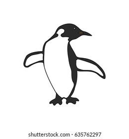 Black and white paint penguin. Vector illustration.