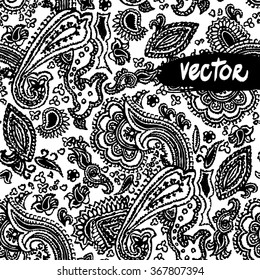 Black and white paisley ornament floral elements on a white background. Vector primitive paisley patterns seamless. Hand drawn vector floral