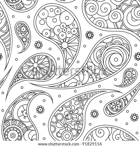 Black White Paisley Pattern Stock Vector Royalty Free 91829156