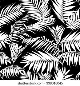 black and white palm leaves pattern, seamless trendy tropical fabric design