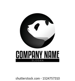 Black and white panda logo design. Cute panda animal side portrait. Gray shades of animal logo in circle shape. Panda bear logo design vector template. Sad panda simply vector