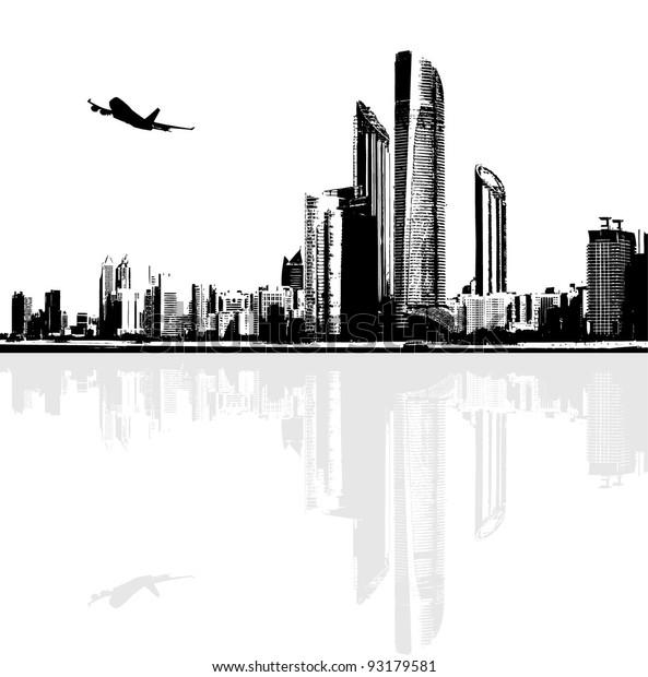 black-white-panorama-city-buildings-600w