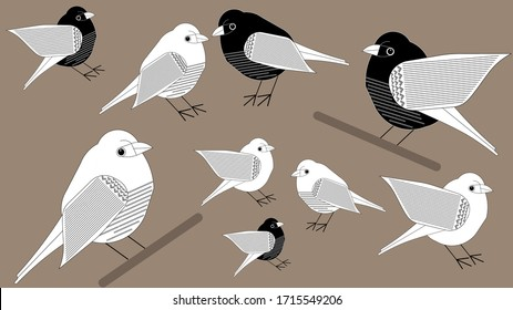 Black and white paper style birds on branches. Vector