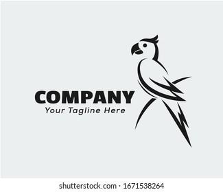 Black white parrot perch at single branch logo design inspiration