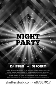 Black and white party club flyer. Vector poster template.