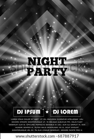 black white party club flyer vector のベクター画像素材