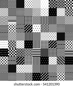 Black and white patchwork quilted geometric seamless pattern, vector set