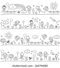 black and white pattern for children with cute nature elements, child like drawing style