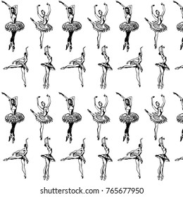 Black and white pattern with dancing ballerinas