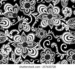 Black and White Pattern with Hand Drawn Flowers. Vector Seamless Lacy Texture.