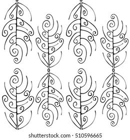 Black and white pattern with hand drawn ornamental elements with resemblance of fern leaves