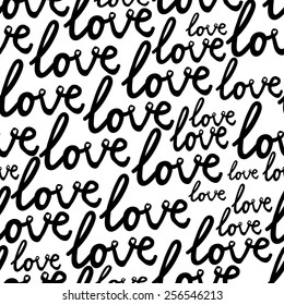 black and white  pattern with love text