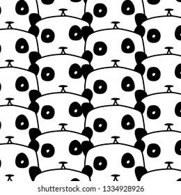 black and white pattern with pandas. cute cartoon Panda. design for walpaper, postcard, mugs or bed linen and other.