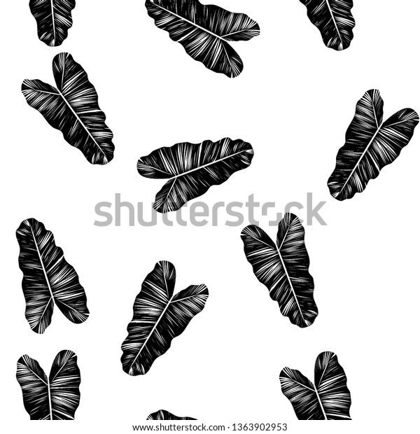 Black White Pattern Tropical Leaves Seamless Stock Vector Royalty Free 1363902953 Black and white abstract of a large tropical monstera deliciosa split leaf plant. shutterstock