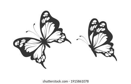 black and white pattern of two butterflies
