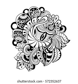 black and white pattern in a zentangle style, Hand-drawn design illustration