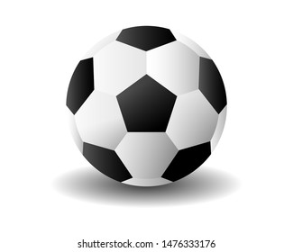 black and white patterned soccer ball vector on a white background