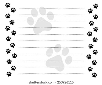 Black and white paw prints border / frame on a dotted line background