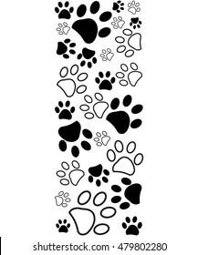 Black white paw prints border vector illustration