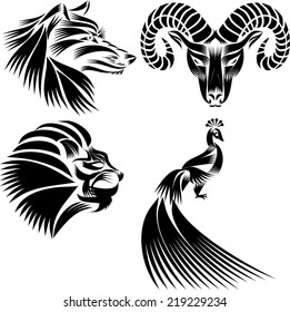 Black And White Peacock Lions Head Of A Goat Wolfs