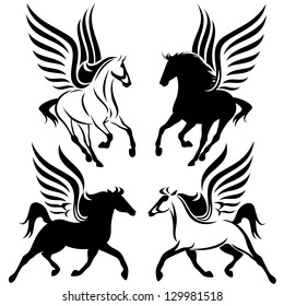 black and white pegasus design - winged horses vector set