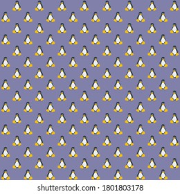 Black and white penguin with orange foot and purple background repeat pattern