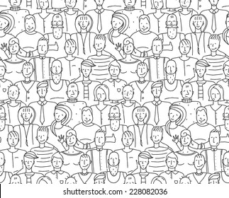 Black and White People Throng Seamless Background. Monochrome outline people drawing. Vector illustration EPS8.