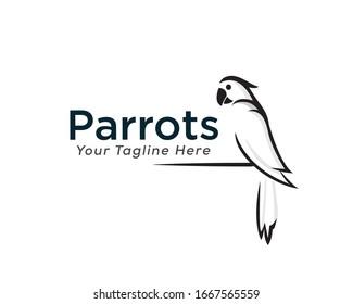 Inspiration für das Design des schwarz-weißen Papagei-Logos