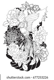 black and white Phoenix fire bird with Peony flower and rose tattoo on cloud and wave background.Hand drawn Japanese tattoo style.Beautiful  phoenix tattoo on black cloud.peacock tattoo Chinese style.