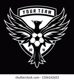 Black and white phoenix for football logo