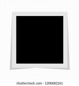 Black and white photo frame with shadows in on white cell notebook. Vector illustration