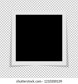 Black and white photo frame with shadows isolated on transparent background. Vector illustration