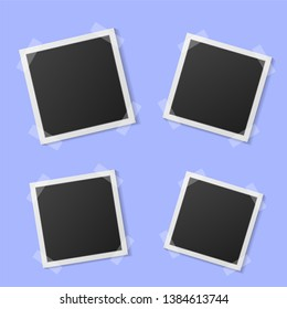 Black and white photo frame with shadows isolated on blue background. Vector illustration