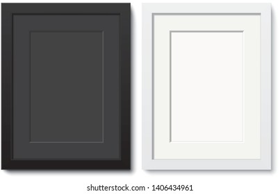 Black and white photo frame vector templates. Set of elegant frames with passepartout hanging on the wall. Blank frame mock up isolated on background.