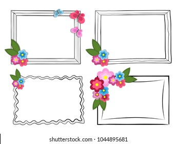 Black and white photo frames with colorful flowers and beautiful batterflies isolated on white background. Simple square and elegant wavy frames set. Decorative frameworks vector illustrations.