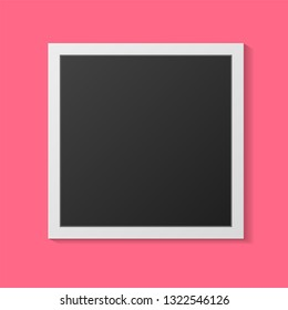 Black and white photo frames isolated on pink. Vintage style. Vector illustration