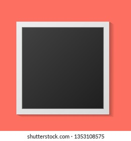 Black and white photo frames with shadows isolated on living coral background. Vector illustration