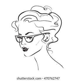Black and white picture of a beautiful girl with glasses. Vector illustration.