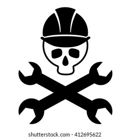 Black and white picture of the skull in the construction helmet with crossed wrenches. Icon skull. Isolated. Vector Image.