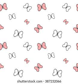 black white pink cartoon butterflies seamless vector pattern background illustration
