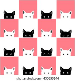 Black White Pink Cat Chess board Background Vector Illustration