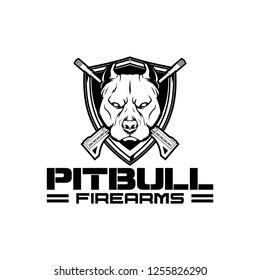 black and white pitbull with cross rifle and shield  vector crest logo template