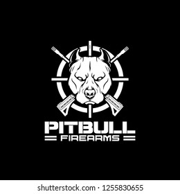 black and white pitbull with rifle and crosshair  vector logo template