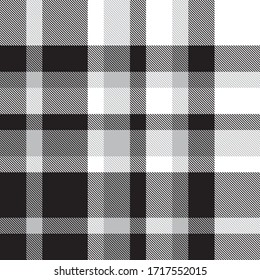 Black and White Plaid, checkered, tartan seamless pattern suitable for fashion textiles and graphics