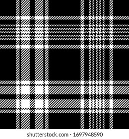 Black white plaid pattern vector graphic. Tartan Scottish check plaid for flannel shirt, blanket, scarf, throw, duvet cover, upholstery, or other modern casual fabric design.