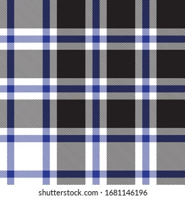 Black and White Plaid Tartan Checkered Seamless Pattern for fashion textiles and graphics