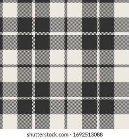 Black & White Plain Weave Modified Buffalo Plaid with Single Frame Seamless Vector Illustration