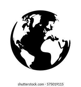 black and white planet earth icon image vector illustration design